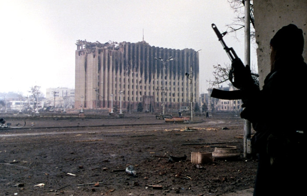 A Chechen separatist near the Presidential Palace in Grozny January 1995 Mikhail Evstafiev