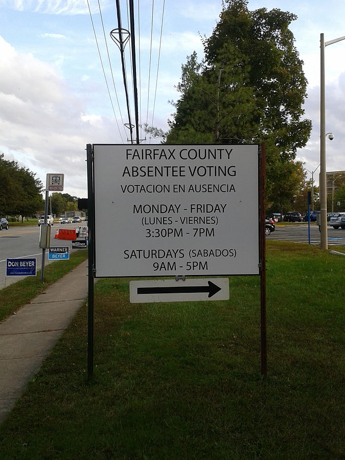 Absentee voting sign Fairfax County Virginia