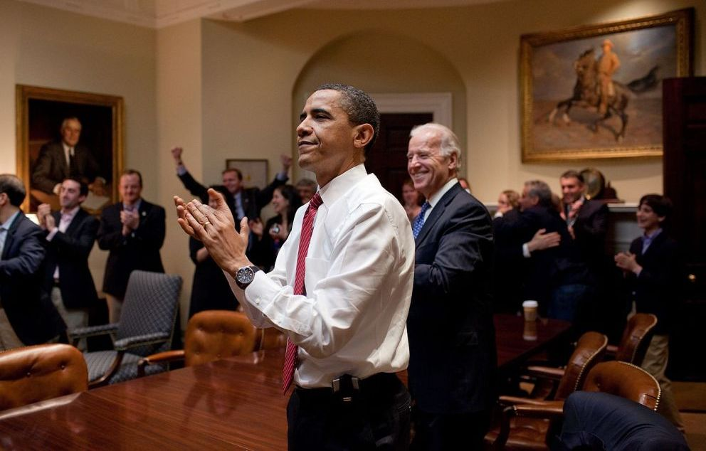 Barack Obama reacts to the passing of Healthcare bill Pete Souza