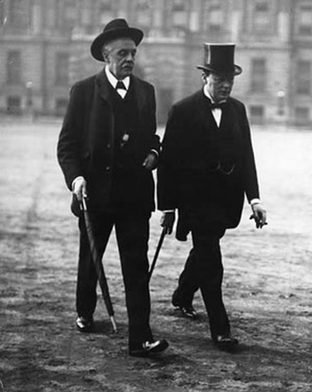 British Prime Minister Arthur Balfour with Winston Churchill