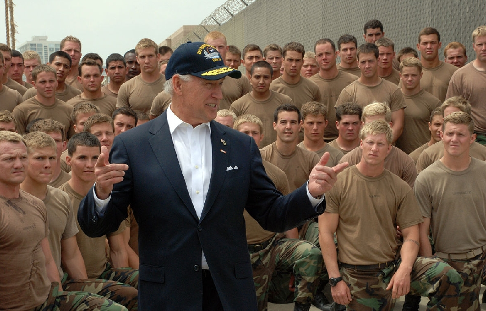 Joe Biden meets with Basic Underwater Demolition SEAL BUDS students at Naval Amphibious Base Coronado