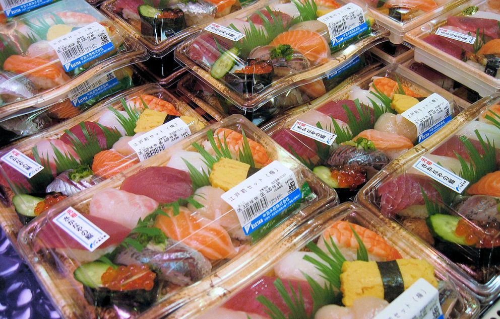 Nigiri sushi for sale at a supermarket in Tokyo Michael Maggs