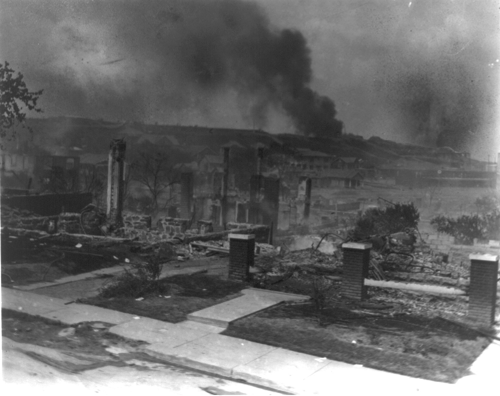 Tulsa Race Massacare Smoldering ruins of African Americans homes following race riots Tulsa Okla 1921